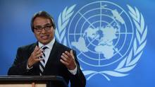 United Nations Special Rapporteur on the rights of indigenous peoples, James Anaya, holds a press conference at the National Press Theatre in Ottawa on October 15, 2013. (Sean Kilpatrick/THE CANADIAN PRESS)