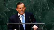 Tony Abbott, Prime Minister of Australia, addresses the 69th United Nations General Assembly in New York on Sept. 25, 2014. (LUCAS JACKSON/REUTERS)