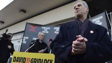 Toronto mayoral candidate David Soknacki held a press conference outside the Lawrence Ave East Scarborough rapid transit station on Jan 14 2014.