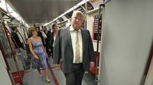 Mayor Rob Ford inspects one of the new Bombardier subway cars, July 27, 2011. (Fred Lum / Globe and Mail)