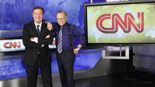 British television host Piers Morgan, left, and veteran CNN talk show host Larry King are shown in this undated publicity photograph. (REUTERS)
