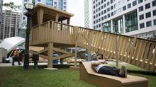 The Cardboard Beach is the work of the Havana-based art collective Los Carpinteros (the Carpenters) and will be made up of a cabana, umbrellas, lounge chairs and a lifeguard tower made of cardboard. (Della Rollins for the Globe and Mail)