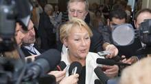 Parti Quebecois Leader Pauline Marois speaks to reporters at the end of a caucus meeting Tuesday, June 7, 2011 at the legislature in Quebec City. Marois faced the resignation of four members from her caucus in the last two days. (Jacques Boissinot/The Canadian Press)