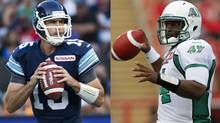 Toronto Argonauts' Ricky Ray and Darian Durant of the Saskatchewan Roughriders