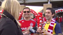 Shauna Hunt interviews a Toronto FC soccer fans in Toronto on Sunday, May 10, 2015, in this video frame grab.