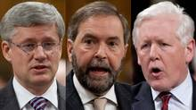 Prime Minister Stephen Harper; NDP Leader Thomas Mulcair and Interim Liberal Leader Bob Rae are shown in a photo combination. (The Canadian Press)
