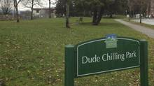 Dude Chilling Park sign erected by an artist in Vancouver's Guelph Park in November 2012. (Andrea Woo/The Globe and Mail)