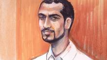 Omar Khadr appears in an Edmonton courtroom, on Sept.23, 2013 in an artist's sketch. Lawyers for several media outlets are arguing for access to former Guantanamo Bay inmate Omar Khadr THE CANADIAN PRESS/Amanda McRoberts (Amanda McRoberts/THE CANADIAN PRESS)