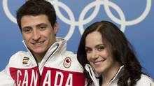 Canadian Ice Dance partners Tessa Virtue and Scott Moir are seen following a news conference at the Sochi Winter Olympics Thursday February 6, 2014 in Sochi, Russia. (The Canadian Press)