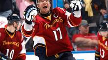 Ilya Kovalchu, seen celebrating a goal in an October 22 game, has been speaking with the Atlanta Thrashers about a long-term contract. (Kevin C. Cox/2009 Getty Images)