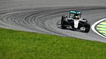 Lewis Hamilton of Great Britain driving the (44) Mercedes AMG Petronas F1 Team Mercedes F1 WO7 Mercedes PU106C Hybrid turbo on track during practice for the Formula One Grand Prix of Brazil at Autodromo Jose Carlos Pace on November 11, 2016 in Sao Paulo, Brazil. (Photo by Clive Mason/Getty Images) (Clive Mason/Getty Images)