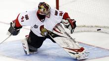 Ottawa Senators' goalie Craig Anderson fails to stop the game-winning goal during a shootout in their NHL hockey game against the Buffalo Sabres. (BLAIR GABLE/Reuters)