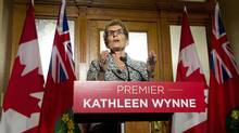 Ontario Premier Kathleen Wynne speaks to the media after winning a majority government at Queen's Park in Toronto on Friday, June 13, 2014. (Nathan Denette/THE CANADIAN PRESS)