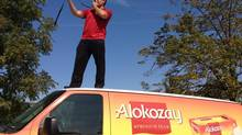 Derek Rider of Rider Enterprises rallying a crowd during the Celebrate the Moment Alokozay Tea Road Show. (Handout)