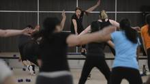 Instructor Tanya Tomlin leads a fast-aced BodyShred class at GoodLife Fitness. (Fred Lum/The Globe and Mail)
