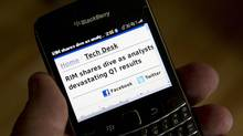 A BlackBerry made by Research In Motion Ltd. (RYAN REMIORZ/THE CANADIAN PRESS)