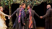 From left: Shannon Taylor as Olivia, Michael Blake as Sebastian, Sarah Afful as Viola and E.B. Smith as Orsino in Twelfth Night. (Cylla von Tiedemann)