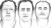 Three witness sketches provided by the RCMP of the unknown man who purchased a large quantity of ammonium nitrate in Jordan, Ont. on May 26. Police are searching for the man and have asked him to identify himself.