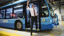 Liberal leader Justin Trudeau steps off a bus arriving at a campaign event at the VIVA Bus Terminal Friday, September 4, 2015 in Richmond Hill, Ont. (Paul Chiasson/The Canadian Press)