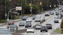 Traffic enters the Oak Street Bridge heading into Richmond from Vancouver in January, 2018. (Rafal Gerszak/The Globe and Mail)