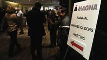 Investors enter Magna's annual meeting in this file photo. (Fred Lum/Fred Lum/The Globe and Mail)