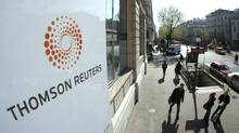 The plaque featuring the logo for Thomson Reuters. (JACKY NAEGELEN/REUTERS)