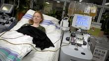 Sydney Kodatsky receives treatment for TPP, a rare blood disorder, at St. Michael's Hospital in Toronto Dec. 5, 2011. (Moe Doiron/Moe Doiron/The Globe and Mail)