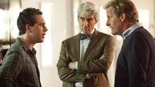 Thomas Sadoski (left), Sam Waterston and Jeff Daniels are among The Newsroom's truth-raining gods charged with pounding out a paternalistic notion of truth. (John P. Johnson)