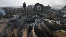 An Emergencies Ministry member walks at a site of a Malaysia Airlines Boeing 777 plane crash near the settlement of Grabovo in the Donetsk region, July 17, 2014. Australian officials have confirmed that several prominent AIDS/HIV researchers were on board, en route to a conference in Melbourne. (MAXIM ZMEYEV/REUTERS)