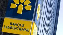 The logo of Laurentian Bank is seen at its head offices in Montreal, April 1, 2015. (CHRISTINNE MUSCHI/REUTERS)