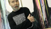 Artist Douglas Coupland sports his Roots-designed T-shirt at his studio in West Vancouver, June 9, 2010. (Lyle Stafford for The Globe and Mail)