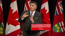 Ontario's Finance Minister Charles Sousa fields a question from a journalist after delivering his Fall Economic Statement in Queen's Park Legislature, Toronto on Monday November 17 2014. Photo: Chris Young for The Globe and Mail (Chris Young/Chris Young for The Globe and Ma)