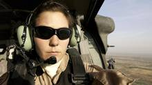 In an undated handout photo, a self-shot photo of Air Force photographer Stacy Pearsall in Iraq. (STACY L PEARSALL/NYT)