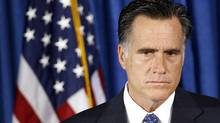 U.S. Republican presidential nominee and former Massachusetts Governor Mitt Romney listens to questions on the attack on the U.S. consulate in Libya, in Jacksonville, Fla., on Wednesday. (JIM YOUNG/REUTERS)