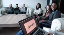 Shopify staff members gather in a working group during company's hack day March 4, 2016 in Ottawa. (Dave Chan/Dave Chan)