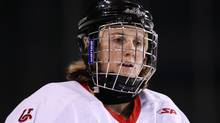 University of Calgary Dinos' Hayley Wickenheiser takes part in the pre-game skate prior to playing the University of British Columbia Thunderbirds in a CIS women's hockey game in Vancouver on Jan. 15, 2011. (DARRYL DYCK/Darryl Dyck/The Canadian Press)