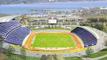 One Pan AM Stadium concept, for Hamilton's West Harbour. Toronto 2015 Pan/Parapan American Games, Courtesy of Cannon Design