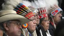 First Nations chiefs listen to speeches during the Crown-First Nations gathering in Ottawa on Jan. 24. (FRED CHARTRAND/THE CANADIAN PRESS)