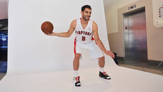 Point guard Jose Calderon poses for a photo during the Toronto Raptors Media Day in Toronto on Monday, October 1 2012. (The Canadian Press)