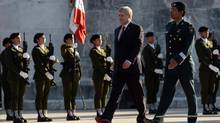 Prime Minister Stephen Harper takes part in a wreath laying ceremony in Mexico City's Chapultepec Park on Feb. 17, 2014. (SEAN KILPATRICK/THE CANADIAN PRESS)