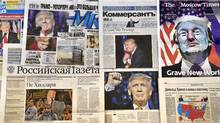 This photo illustration taken in Moscow on November 10, 2016 shows front pages of Russian newspapers reporting on the victory of Donald Trump in the US presidential election. (Yuri KADOBNOVYURI KADOBNOV/AFP/GETTY PHOTO)