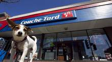 A dog named Roxy waits outside a Couche-Tard convenience store in Montreal, April 18, 2012. (CHRISTINNE MUSCHI/REUTERS)