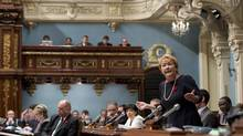 Quebec Premier Pauline Marois responds to opposition questions at the Quebec City legislature on Nov. 7, 2013. (JACQUES BOISSINOT/THE CANADIAN PRESS)