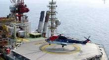 A CHC helicopter is about to touch down at a Statoil platform in the Norwegian North Sea (CP)