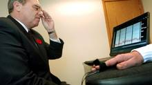 Toronto Police Service demonstration of a lie-detector test in 2002. (J.P. MOCZULSKI/The Globe and Mail)