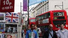 Retail sales volumes rose 0.3 per cent between June and July in the UK, confounding expectations of a 0.1 per cent fall. (Fabrizio Bensch/REUTERS)
