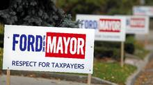 Election campaign signs for Rob Ford line the streets of Toronto's West End on Oct 26, 2010. (Moe Doiron/The Globe and Mail/Moe Doiron/The Globe and Mail)