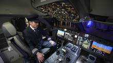 The cockpit of the demonstration cabin of a Bombardier C Series. Bombardier Inc. has again delayed the first flight of its C Series aircraft, saying Wednesday it will occur some time in the coming weeks. 'The highly technical last steps are taking more time than initially anticipated to validate the overall systems and ongoing software integration,' Bombardier said in a statement Wednesday. (Fred Lum/The Globe and Mail)