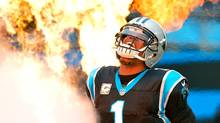 Cam Newton of the Carolina Panthers emerges from the tunnel before a game on Nov. 13, 2016. (Grant Halverson/Getty Images)