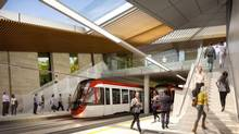 A rendering of the new $2.1-billion transit line which is to open in 2018 in Ottawa. The city is encouraging high-density development near the stations.
